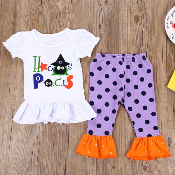 Halloween Kids girls clothing sets Girls t-shirts collocation Ruffle Polka Dot suit Frilled Leggings Girl Pants baby witch Outfits Boutique