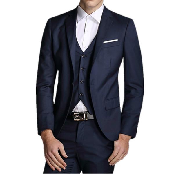 Suit Blazer Men New Fashion Brand Clothing Slim Fit Jacket Hot Sale Mens Wedding Suits Trousers Pants Vest 3 Pieces Sets