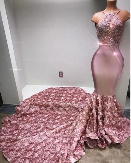 Rose gold Pink Long Prom Dresses Cascading Ruffe Sexy Back Rose Flower Sweep Train Appliques Beaded Sequined Mermaid Evening Dress
