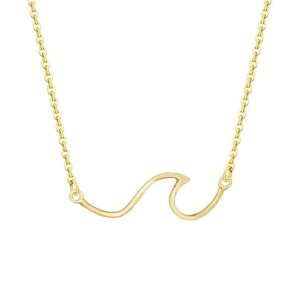 Simple Catch The Ocean Wave Necklace Beach Surfer Jewelry Stainless Steel Chain Nautical Pendant Necklaces For Women Men