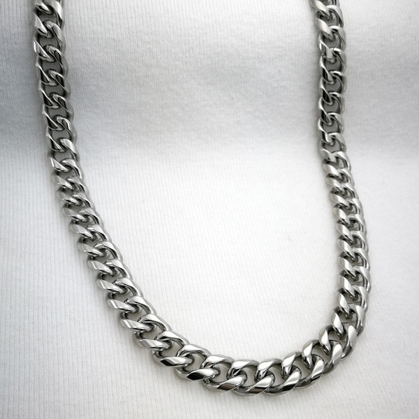 """Silver tone Stainless steel Mens Necklace Solid Cuban Curb Chain 24"""" 13mm (n336)"""