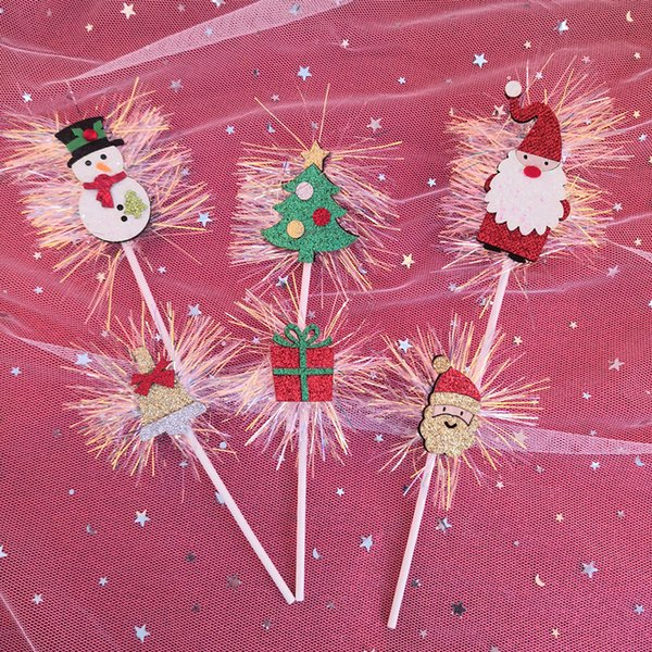 6 Styles Xmas Santi Claud Snowflake Cupcake Topper Wedding Decoration Centerpieces Kitchen Accessories Home Decor Party Supplies Decorations For Kids
