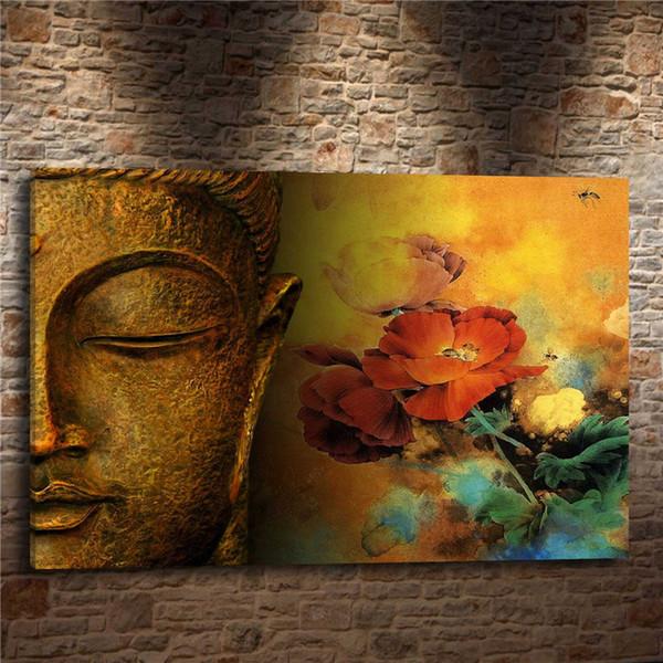 BUDDHA ÇIÇEKLER Din Manevi, 1 Parça Ev Dekorasyonu HD Baskılı Modern Sanat Tuval Üzerine Boyama (Çerçevesiz / Çerçeveli)