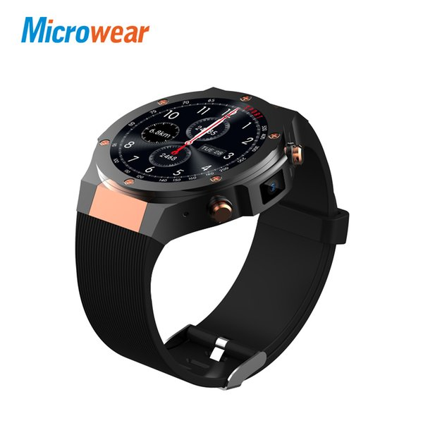 Microwear H2 Android iOS 1G + 16GB montre intelligente 1,39 pouces mtk6580 SmartWatch téléphone 3G wifi GPS 5M fréquence cardiaque nano SIM GSM WCDMA