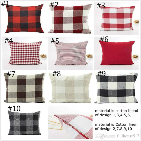 Check Throw Pillow case Covers Plaid Decorative Pillow Cases Square Linen Cushion Covers for Christmas New Year Home Decor Housewarming Gift