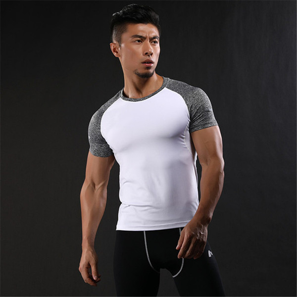 2018 Newest Summer Mens Fashion Tights Breathable T-Shirt Sporting Stretch GYMS Bodybuilding Quick Drying Fitness Men's Shirts