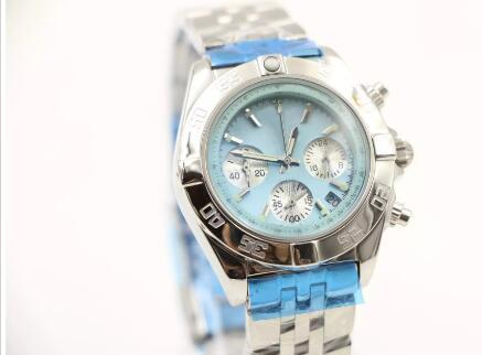 35MM Casual quartz chronograph chrono womens women watch watches ladies wristwatch blue shell dial with date window