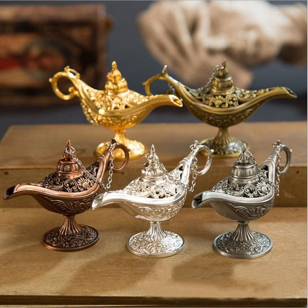 Excellent conte de fées Aladdin lampe magique brûleur d'encens Vintage Rétro Thé Pot Génie Lampe Aroma Pierre Maison Ornement Métal