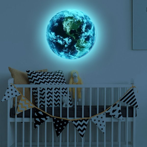 3D wall stickers for kids rooms blue light earth glow in the dark star wall stickers for children's rooms home decor living room