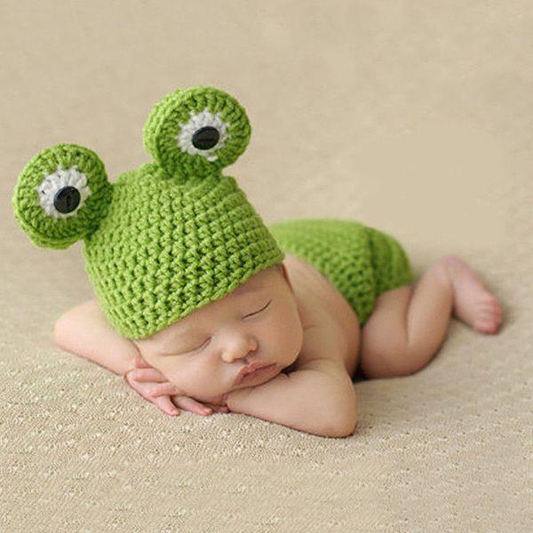 New Hot Sale Cute Newborn Baby Boys Girls Unisex Knied Wool Crochet Beanie Costume Hat Cute Lovely Cartoon Frog Beanies