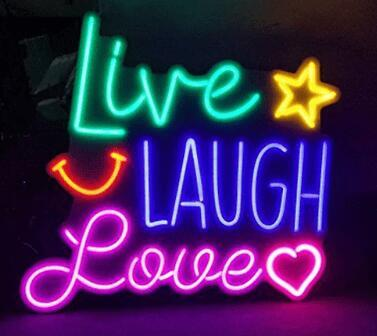 Neon Signs Gift Live Ridere Love Real Glass Beer Bar Pub Store Party Homeroom Decor 19X15