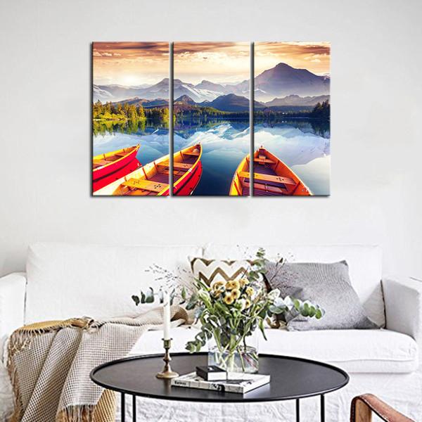Acheter 3 Panneaux Vente Chaude Affiches Mur Moderne Peinture Lac Bateau Couleurs Du Ciel Accueil Mariage Décoratif Modulaire Photo Impression Sur