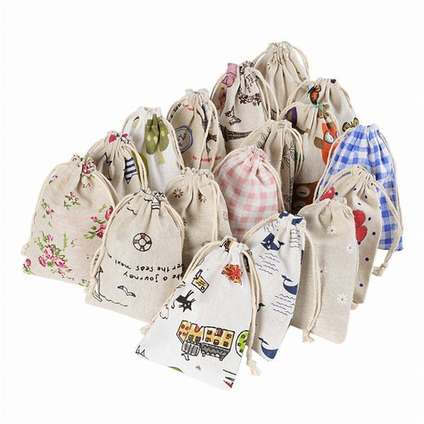 Hot sale 10*14cm household supplies mosquito repellent cotton bag linen gift bag cartoon printing drawstring bags T3I0040