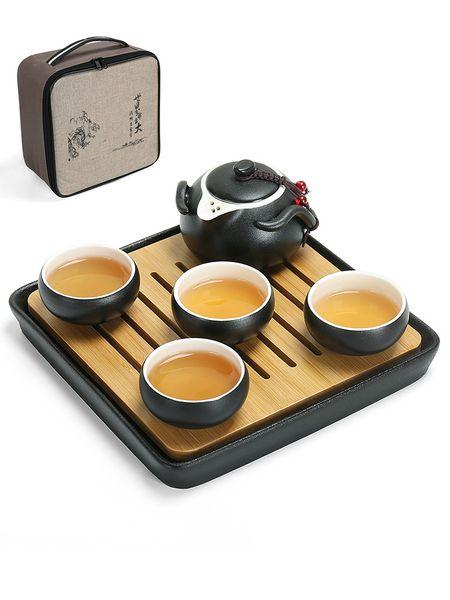 Negro moderno Kung Fu cerámica 4 piezas teacup bandeja de té de bambú juego de té una tetera incluyen bolsa de regalo