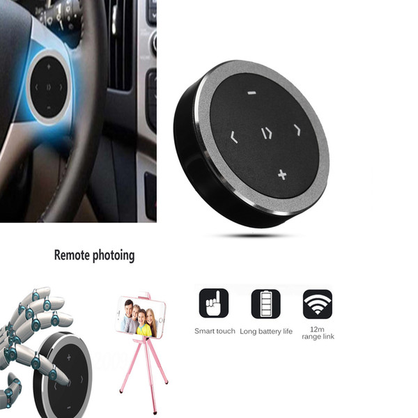 Auto Wireless Bluetooth 3.0 Media Audio Button Steering Wheel Mount Music Play Remote Control For Car Motorcycle
