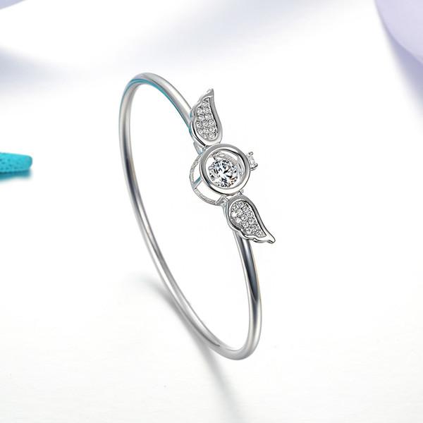 ORSA JEWELS Genuine 925 Sterling Silver Women Bangles Angel Wings Shape AAA Cubic Zircon Ladies Bangle Fashion Jewelry SB17