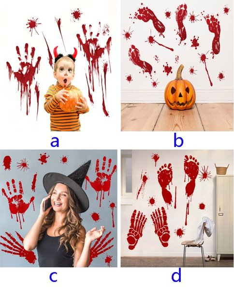 Halloween Wall Sticker For Blood Footprints Horror Removable Sticker Background For Bar Window Home Decoration 4 Style HH7-1675