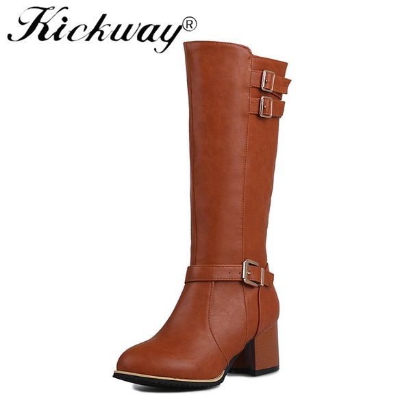 Kickway Women's Winter Shoes Knee High Boots Plus Big Size 47 High Quality Faux Suede Brand Women Shoes Wool Women Winter Boots