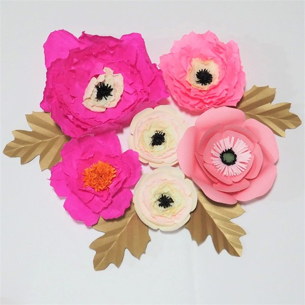 Giant Paper Artificial Flowers 6PCS + 4 Leaves For Wedding & Event Backdrop Decor Baby Nursery Handmade Crafts Customized Decorations Home