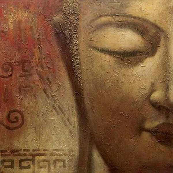 Peint à la main Feng Shui Zen Bouddha Visage Art mural sur toile Peinture à l'huile abstraite Moderne Contemporain pour la maison Salon Bureau Décor SH57