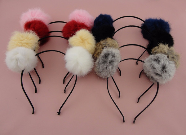 6PCS Black Satin Wrapped Metal hair headbands with 8.0cm Real Rabbit Fur Pompoms Balls big velvet Pompon hairbands
