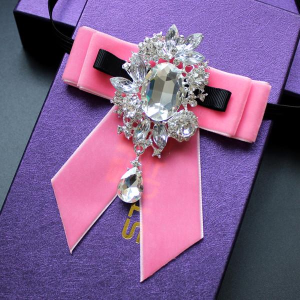 Handmade Moda Novo Estilo dos homens Terno Rosa Gola Flor Camisa Bow Tie Wedding Banquet Collar Jóias Rhinestone Bow Tie