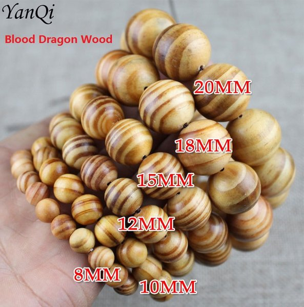 Yanqi Buddhist Bead Bracelet Elastic Blood dragon Wood Tibetan Buddhist Mala Jewelry Men Buddha Bracelets Rosary For Prayer Mala