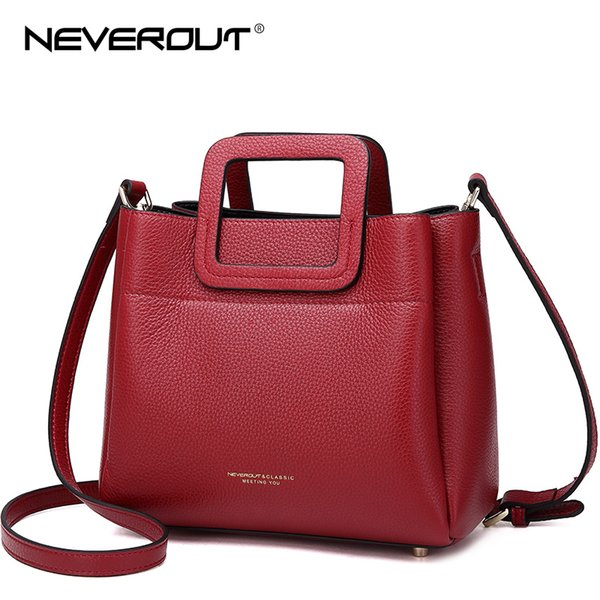 NeverOut Handbag High Quality Genuine Leather Brand Women Name Bag Handbags Solid Dress Style Tote Female Shoulder Totes Bags