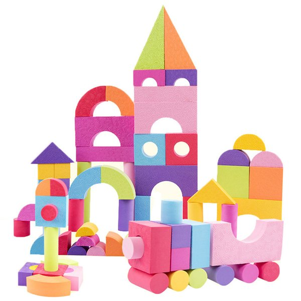 50 Pcs Kid EVA Safe Foam Assemblage Building Blocks Soft Bricks Classic Montessori Toys Colourful Blocks Set Gift for Children