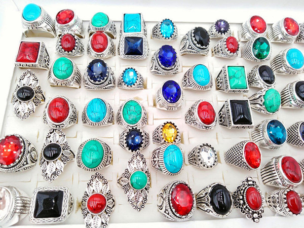best selling Wholesale Mix Style Mens Womens Vintage Jewelry Rings Turquoise Stone Glass Rings Wedding Party Gifts Rings