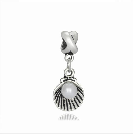 European Silver Charms Wholesale Pearl & Shell Pendants fit for Pandora Beaded Bracelets Bangles Sale Personality Designs Jewelry Mom Girls