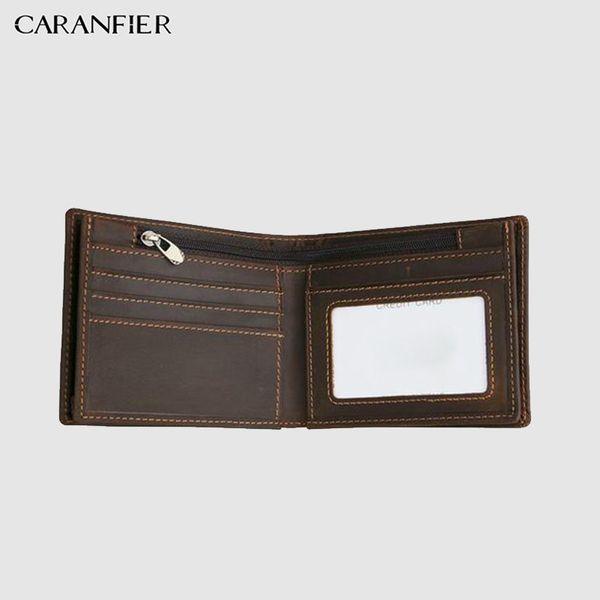 CARANFIER Leather Mens Wallet Top Genuine Cowhide Leather Men Retro Wallet Coin Bag Male Short Bi-fold Cowboy Purses Crazy Horse