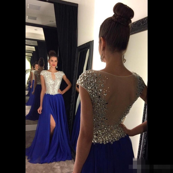 Stunning Crystal Long Split Side Prom Dresses Cap Sleeves Rhinestones Backless See through Royal Blue Evening Gowns mm23
