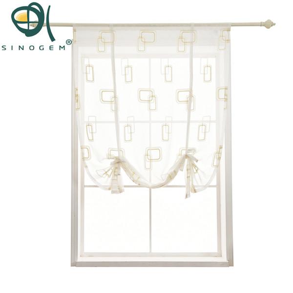Tenda corta della cucina di Sinogem Tenda alla romana di ricamo di alto livello Pannello geometrico della tenda di trattamento di finestra della finestra del tulle di beige del pannello puro