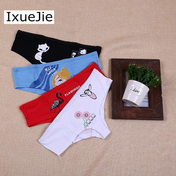 Ixuejie 3 шт. / лот низкая талия хлопок женщины печати сексуальное нижнее белье женские трусы женский дышащий симпатичные трусики