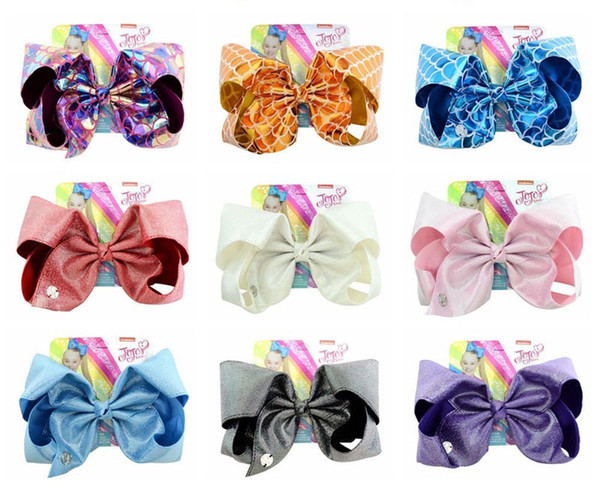 JOJO Big Bowknot Laser Hairpins Bows With Clip Bling Girls Barrette Colorful Bow Hair Clips Children Lolita Headwear Accessories Christmas