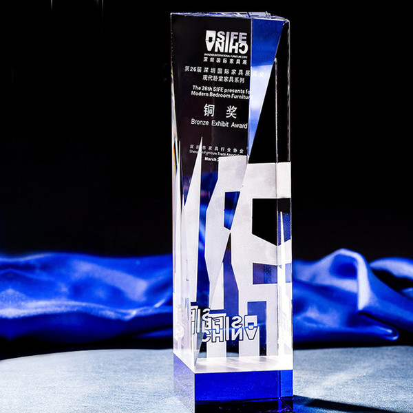 High-grade obelisk award business souvenir crystal trophy award