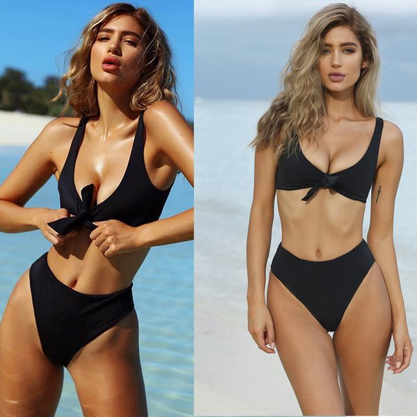 fb108ab4748 Womens Tie Knot Front High Waist Thong Bandage 2PCS Bikini Sets Beachwear  for swimming