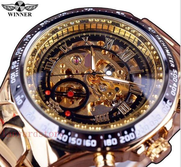 Gewinner Neue Nummer Sport Design Lünette Goldene Uhr Herren Uhren Top-marke Luxus Montre Homme Uhr Männer Automatische Skeleton Uhr