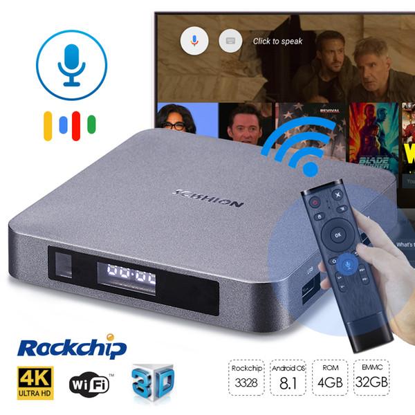 Android 8.1 Smart television media box Google play voice control TV BOX 4GB 32GB BT4.0 WiFi Digital display RK3328 4K Streaming Media Player