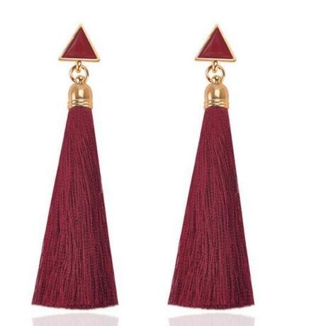 Triangle Cotton Tassel Earrings Drop Tassel Dangle Earrings Fish Hook Cotton Thread Multi Color Fringe Thread Dangle Earrings