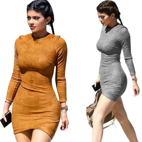 2016 Long Sleeve Slim Party Dress Sexy Club Brown Vestido Women Winter Dresses Kylie Jenner Skin Tight Faux Suede Bodycon Dress Plus Size Canada 2019