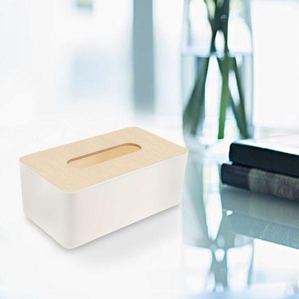 Modern Bamboo Tissue Box Napkin Paper Cover Holder Round Rectangle Tissue Case Home Kitchen Room