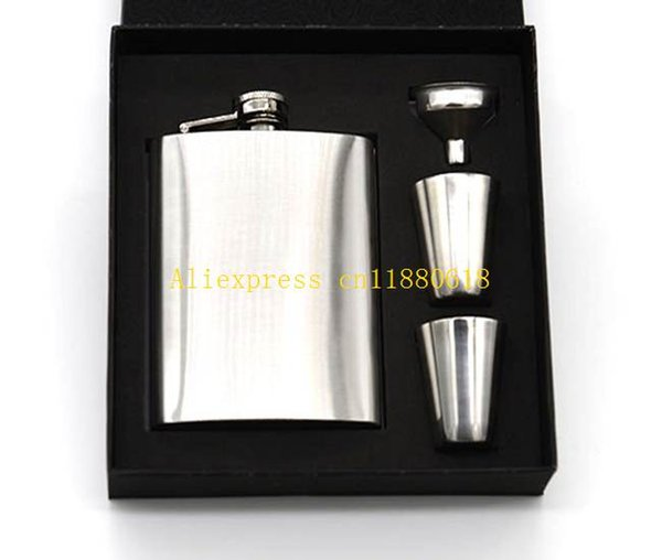 20sets/lot Fast shipping 7 oz Stainless Steel Pocket Hip Flask Funnel Cups Set 7oz Drink Bottle Gift