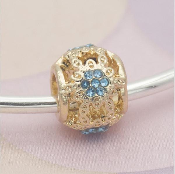 Fit Charms bracciale in argento sterling 30pcs oro Hollow fiocco di neve grande foro blu perline di cristallo misura il fascino europeo Biagi bracciali gioielli fai da te