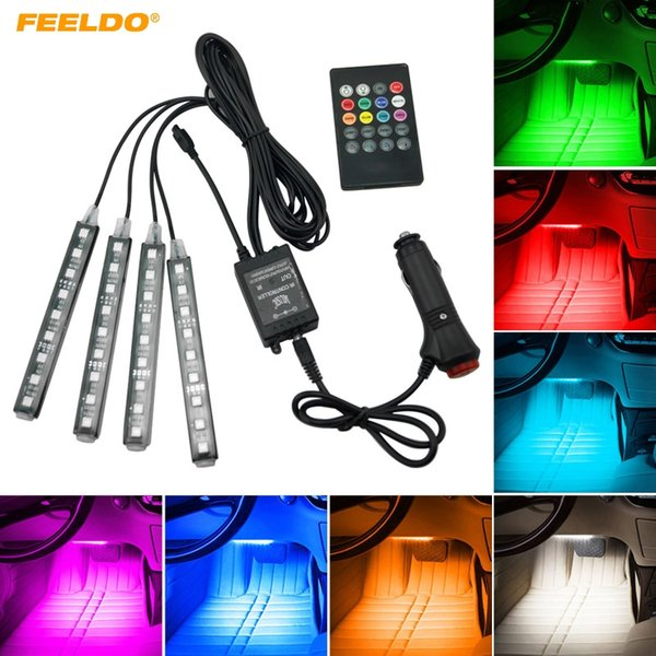 FEELDO Car Interior RGB LED Strip Light Voice Controller Atmosphere Lamp Foot Decorative Light With 24 Key Remote Controller #4563