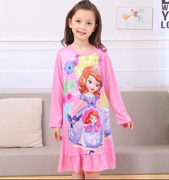 fc92a2bccda9 Девушки ночная рубашка детская одежда вязание хлопок с длинными рукавами  пижамы платье милые дети домашняя одежда