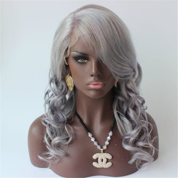 Gri İnsan Saç Peruk Kadınlar Için Vücut Dalga Bakire Perulu Gümüş Gri İnsan Saç Peruk Tutkalsız Tam Dantel Gri Saç Peruk
