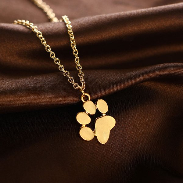 Cute animal cat paw feet necklaces gold silver dog claw paws shaped pendant necklace fashion jewelry free shipping