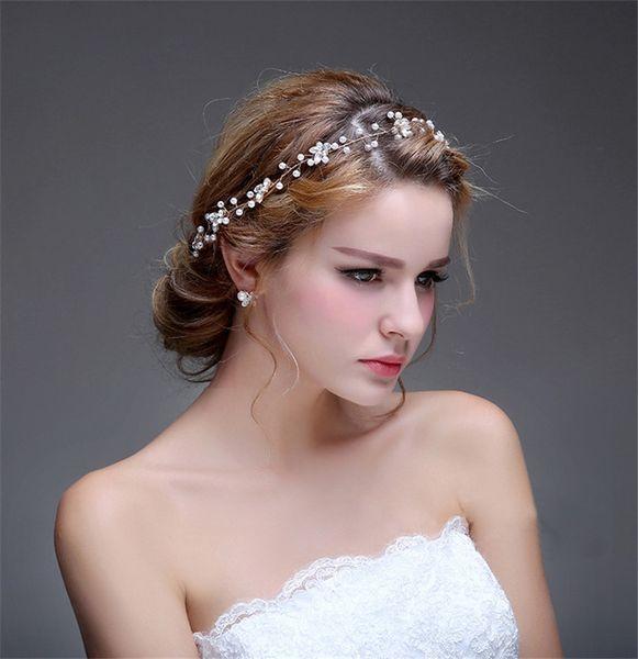 Fashion Crystal Rhinestone Wedding Hair Accessories Headband Pearl Women Hair Jewelry Gold Silver Bridal Hair Vine Handmade